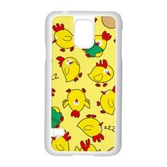Animals Yellow Chicken Chicks Worm Green Samsung Galaxy S5 Case (white)
