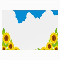 Cloud Blue Sky Sunflower Yellow Green White Large Glasses Cloth