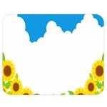 Cloud Blue Sky Sunflower Yellow Green White Double Sided Flano Blanket (Medium)  60 x50 Blanket Back