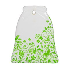 Butterfly Green Flower Floral Leaf Animals Ornament (bell)