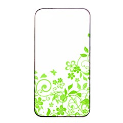 Butterfly Green Flower Floral Leaf Animals Apple iPhone 4/4s Seamless Case (Black)