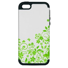 Butterfly Green Flower Floral Leaf Animals Apple Iphone 5 Hardshell Case (pc+silicone)