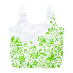 Butterfly Green Flower Floral Leaf Animals Full Print Recycle Bags (l)
