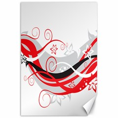 Flower Floral Star Red Wave Canvas 24  x 36