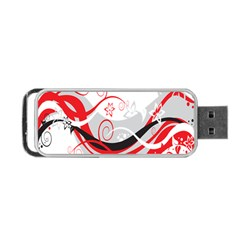 Flower Floral Star Red Wave Portable Usb Flash (two Sides)