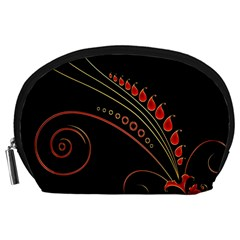 Flower Leaf Red Black Accessory Pouches (large)
