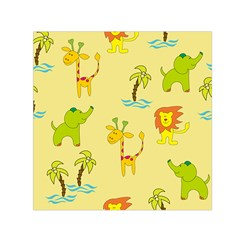 Cute Animals Elephant Giraffe Lion Small Satin Scarf (Square)