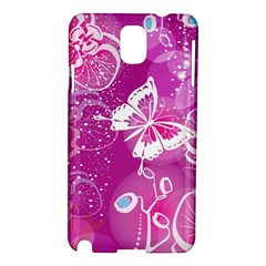 Flower Butterfly Pink Samsung Galaxy Note 3 N9005 Hardshell Case