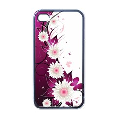 Flower Purple Sunflower Star Butterfly Apple iPhone 4 Case (Black)