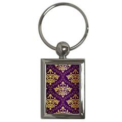 Flower Purplle Gold Key Chains (Rectangle)