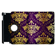 Flower Purplle Gold Apple iPad 3/4 Flip 360 Case