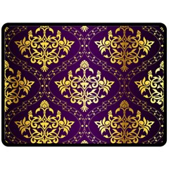 Flower Purplle Gold Double Sided Fleece Blanket (large)