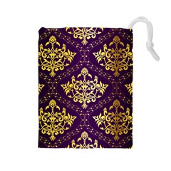 Flower Purplle Gold Drawstring Pouches (large)