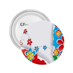 Flower Floral Papper Butterfly Star Sunflower Red Blue Green Leaf 2.25  Buttons