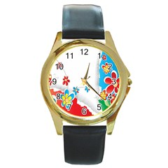 Flower Floral Papper Butterfly Star Sunflower Red Blue Green Leaf Round Gold Metal Watch