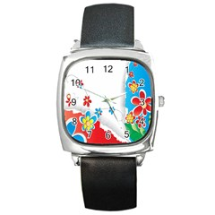 Flower Floral Papper Butterfly Star Sunflower Red Blue Green Leaf Square Metal Watch