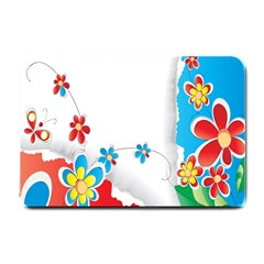 Flower Floral Papper Butterfly Star Sunflower Red Blue Green Leaf Small Doormat