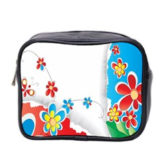 Flower Floral Papper Butterfly Star Sunflower Red Blue Green Leaf Mini Toiletries Bag 2-Side