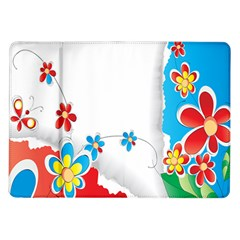 Flower Floral Papper Butterfly Star Sunflower Red Blue Green Leaf Samsung Galaxy Tab 10.1  P7500 Flip Case