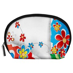 Flower Floral Papper Butterfly Star Sunflower Red Blue Green Leaf Accessory Pouches (large)