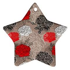 Flower Rose Red Black White Ornament (Star)