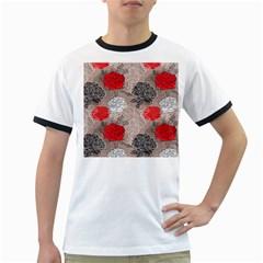 Flower Rose Red Black White Ringer T-Shirts