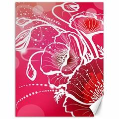 Flower Red Sakura Pink Canvas 12  x 16