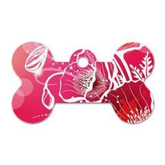 Flower Red Sakura Pink Dog Tag Bone (two Sides)