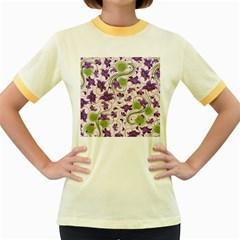 Flower Sakura Star Purple Green Leaf Women s Fitted Ringer T-Shirts
