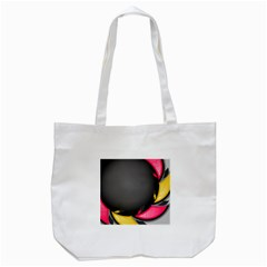 Hole Circle Line Red Yellow Black Gray Tote Bag (White)