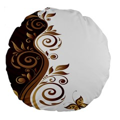 Leaf Brown Butterfly Large 18  Premium Round Cushions