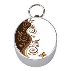 Leaf Brown Butterfly Mini Silver Compasses
