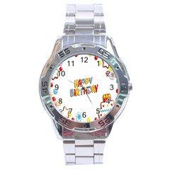 Happy Birthday Stainless Steel Analogue Watch