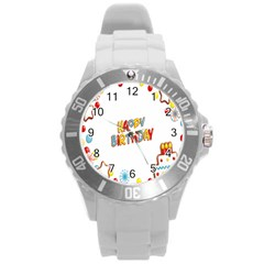 Happy Birthday Round Plastic Sport Watch (L)