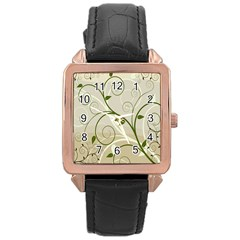 Leaf Sexy Green Gray Rose Gold Leather Watch