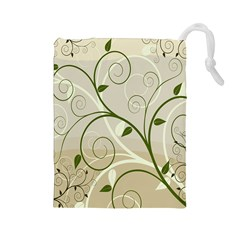 Leaf Sexy Green Gray Drawstring Pouches (Large)