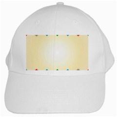Plaid Wave Chevron Rainbow Color White Cap