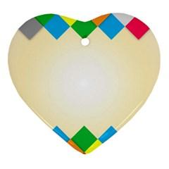 Plaid Wave Chevron Rainbow Color Heart Ornament (Two Sides)