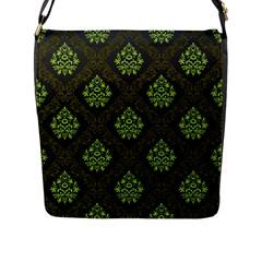 Leaf Green Flap Messenger Bag (l)