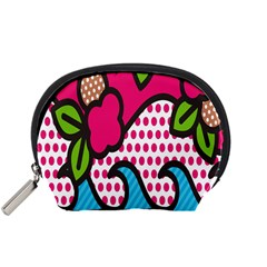 Rose Floral Circle Line Polka Dot Leaf Pink Blue Green Accessory Pouches (small)