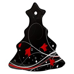 Star Red Flower Floral Black Leaf Polka Circle Christmas Tree Ornament (Two Sides)