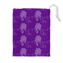 Purple Flower Rose Sunflower Drawstring Pouches (Extra Large)