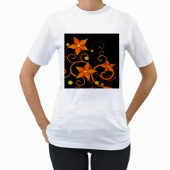 Star Leaf Orange Gold Red Black Flower Floral Women s T-Shirt (White) (Two Sided)
