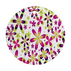 Star Flower Purple Pink Round Ornament (Two Sides)