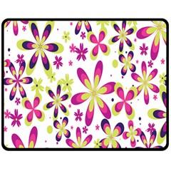 Star Flower Purple Pink Double Sided Fleece Blanket (medium)