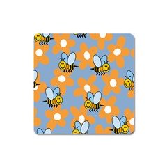 Wasp Bee Honey Flower Floral Star Orange Yellow Gray Square Magnet