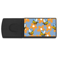 Wasp Bee Honey Flower Floral Star Orange Yellow Gray USB Flash Drive Rectangular (4 GB)
