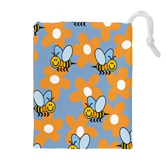 Wasp Bee Honey Flower Floral Star Orange Yellow Gray Drawstring Pouches (Extra Large)