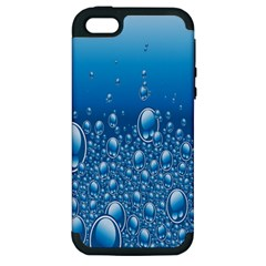 Water Bubble Blue Foam Apple Iphone 5 Hardshell Case (pc+silicone)