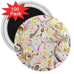 Colorful Seamless Floral Background 3  Magnets (100 pack)
